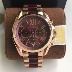 New Michael Kors Rose Gold and Red Two Tone Mk6270